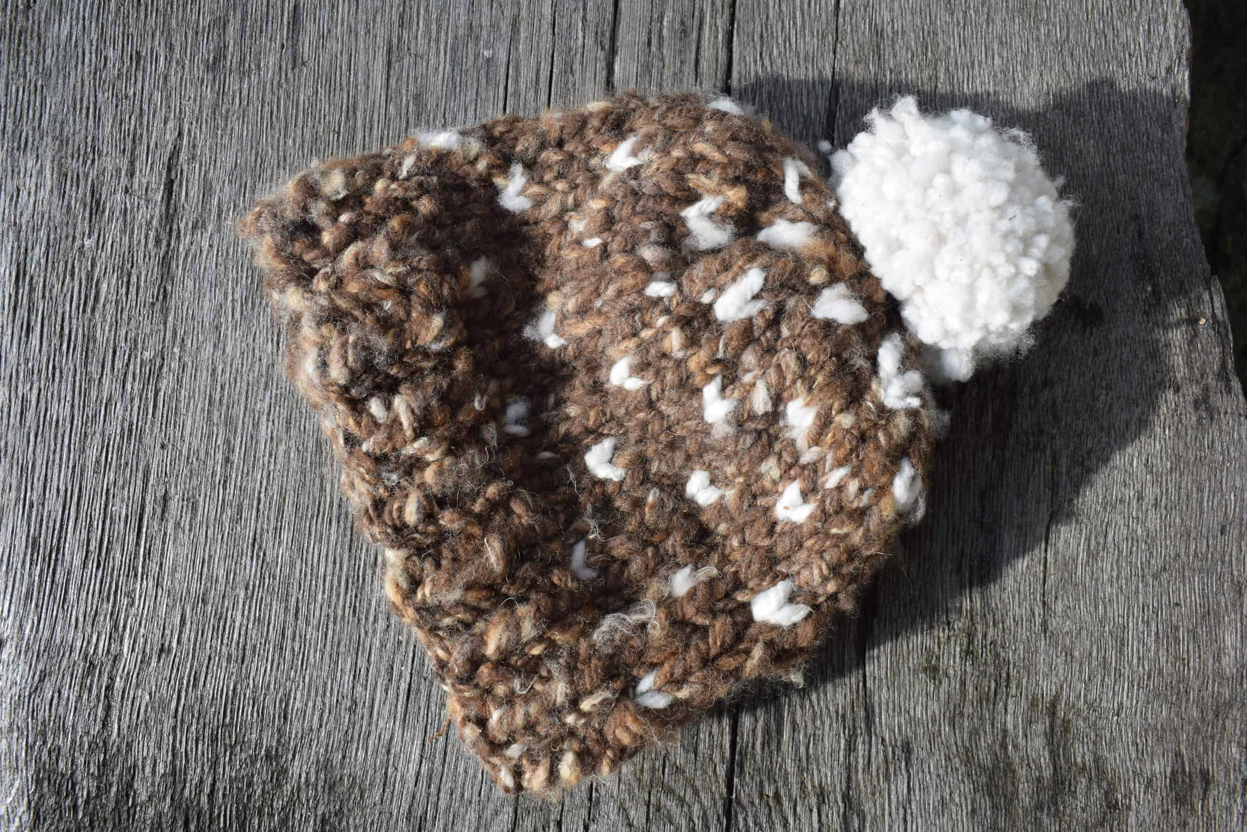 Handmade natural wool hat hand spun soay cross bowmont wool pip patchwork sheep