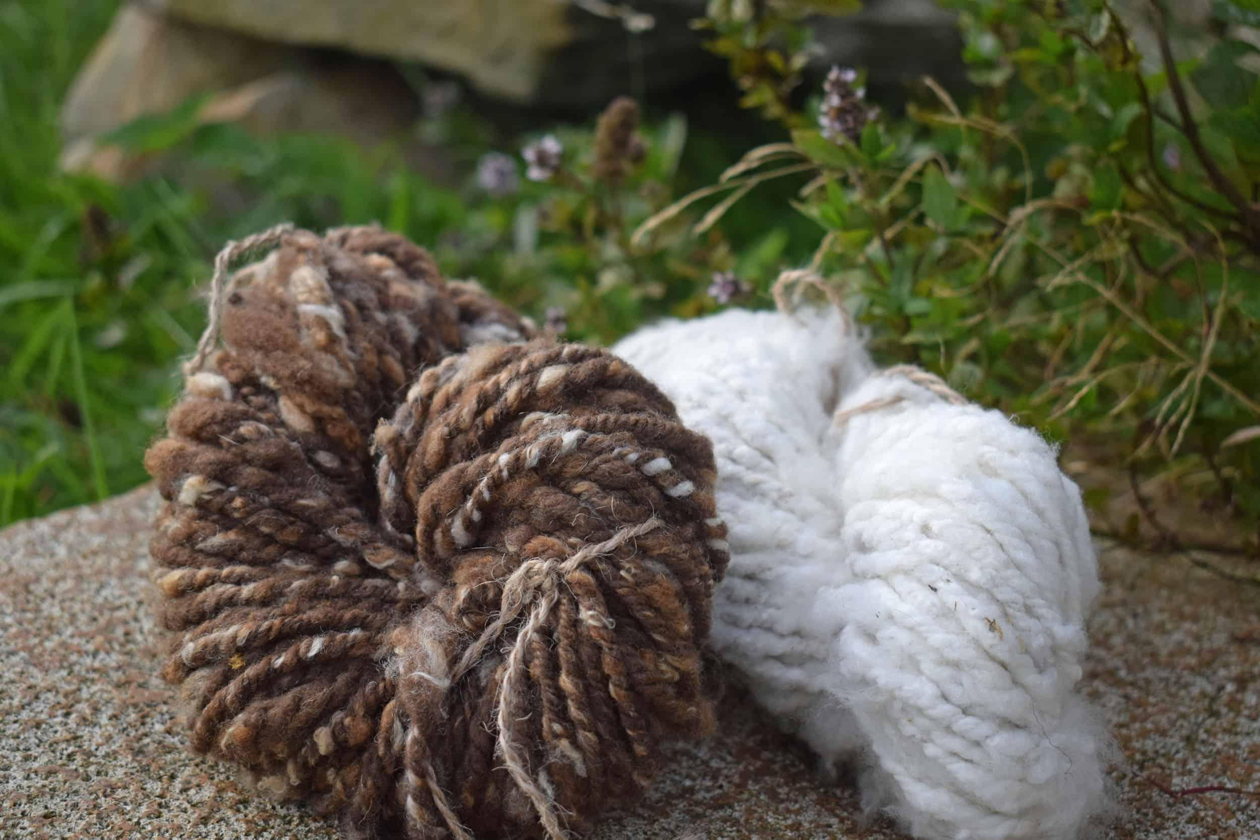 Hand spun natural wool moorit soay cross bowmont fiber spinning
