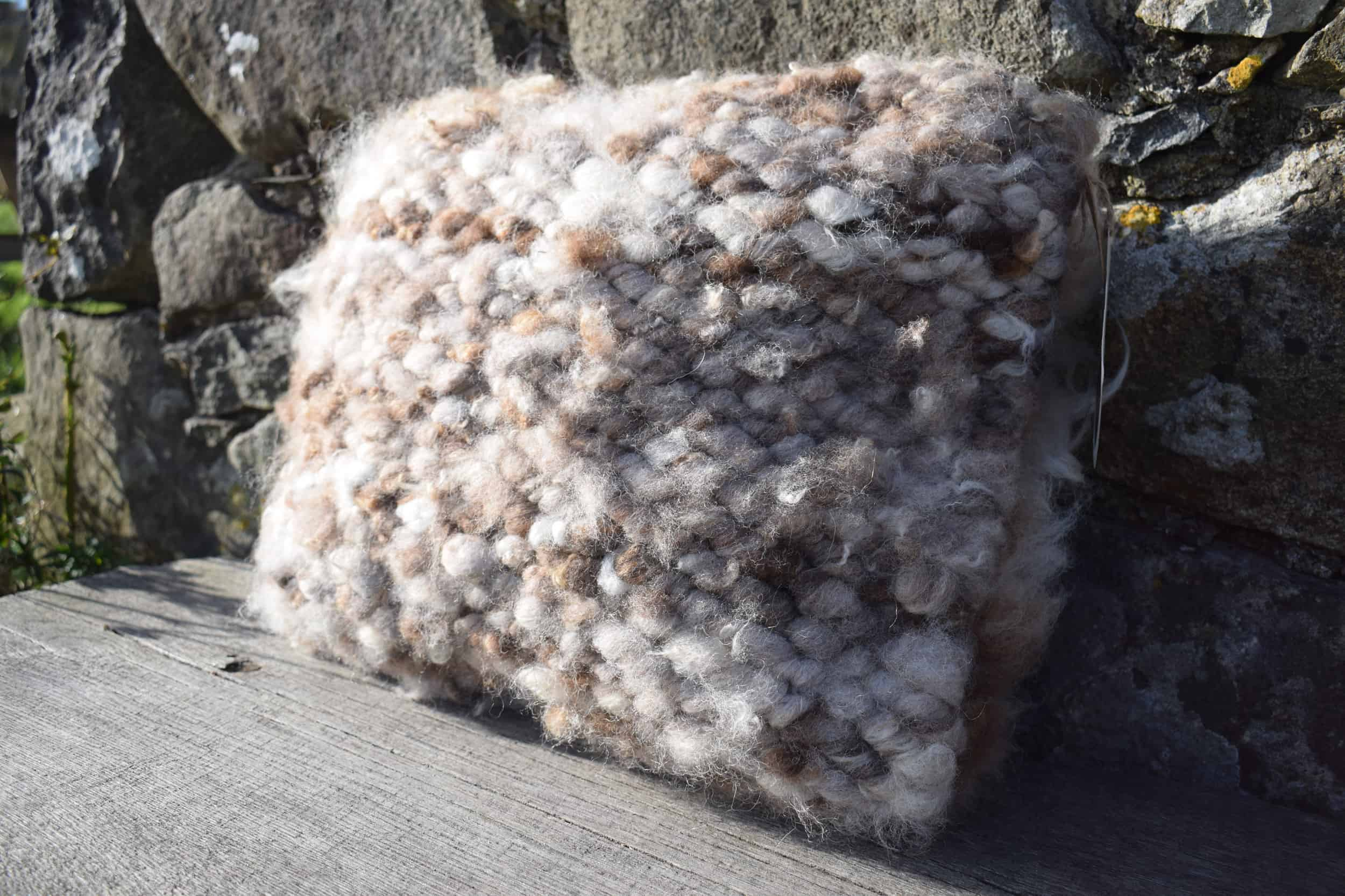 pegloom woven wool cushion handmade moorit grey brown natural wool patchwork sheep