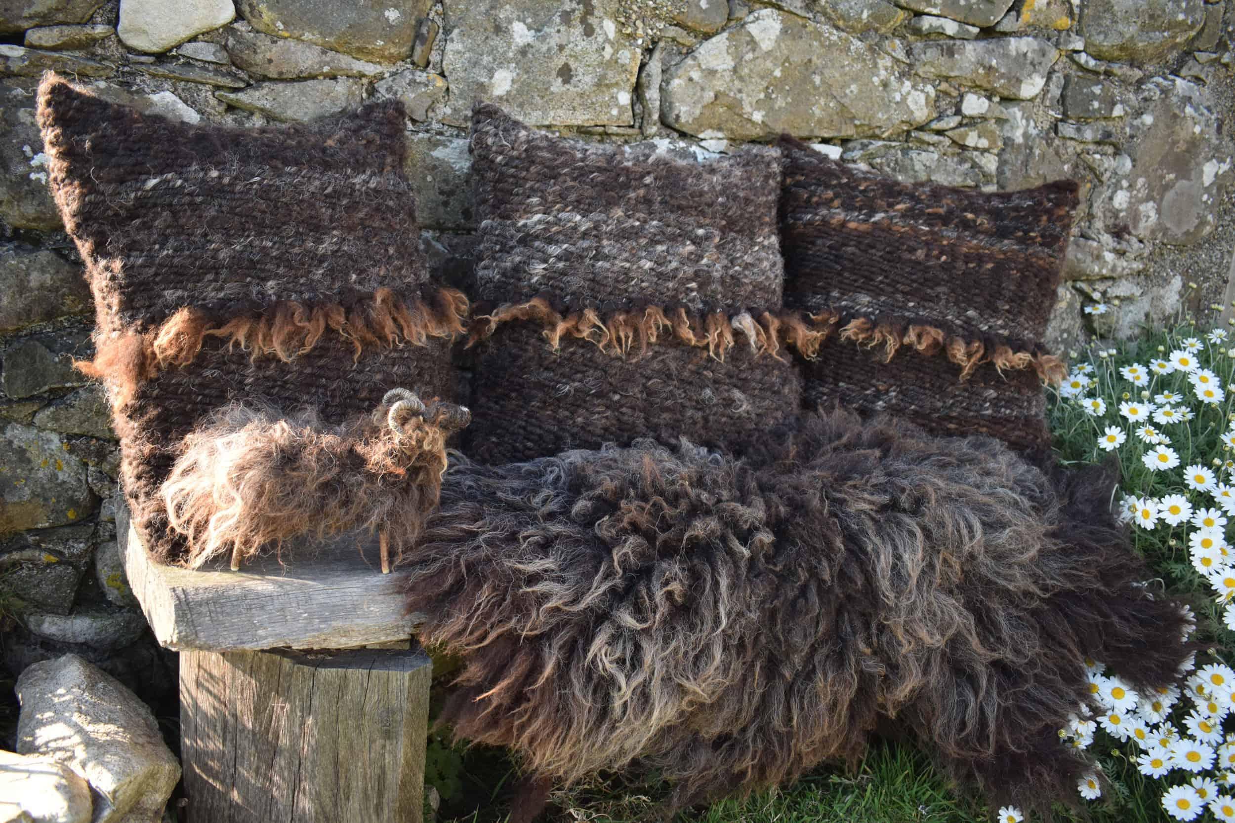 Magic handcrafted pegloom cushion felted fleece brown black mini needle felted sheep handmade woolsheep jacob cross shetland magical patchwork sheep