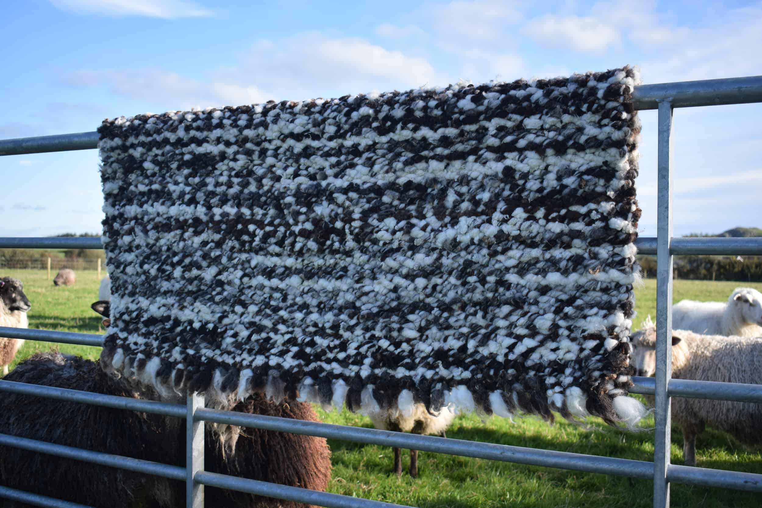 pegloom large woven wool rug throw handmade brown white sweep patchwork sheep farm crafts support local