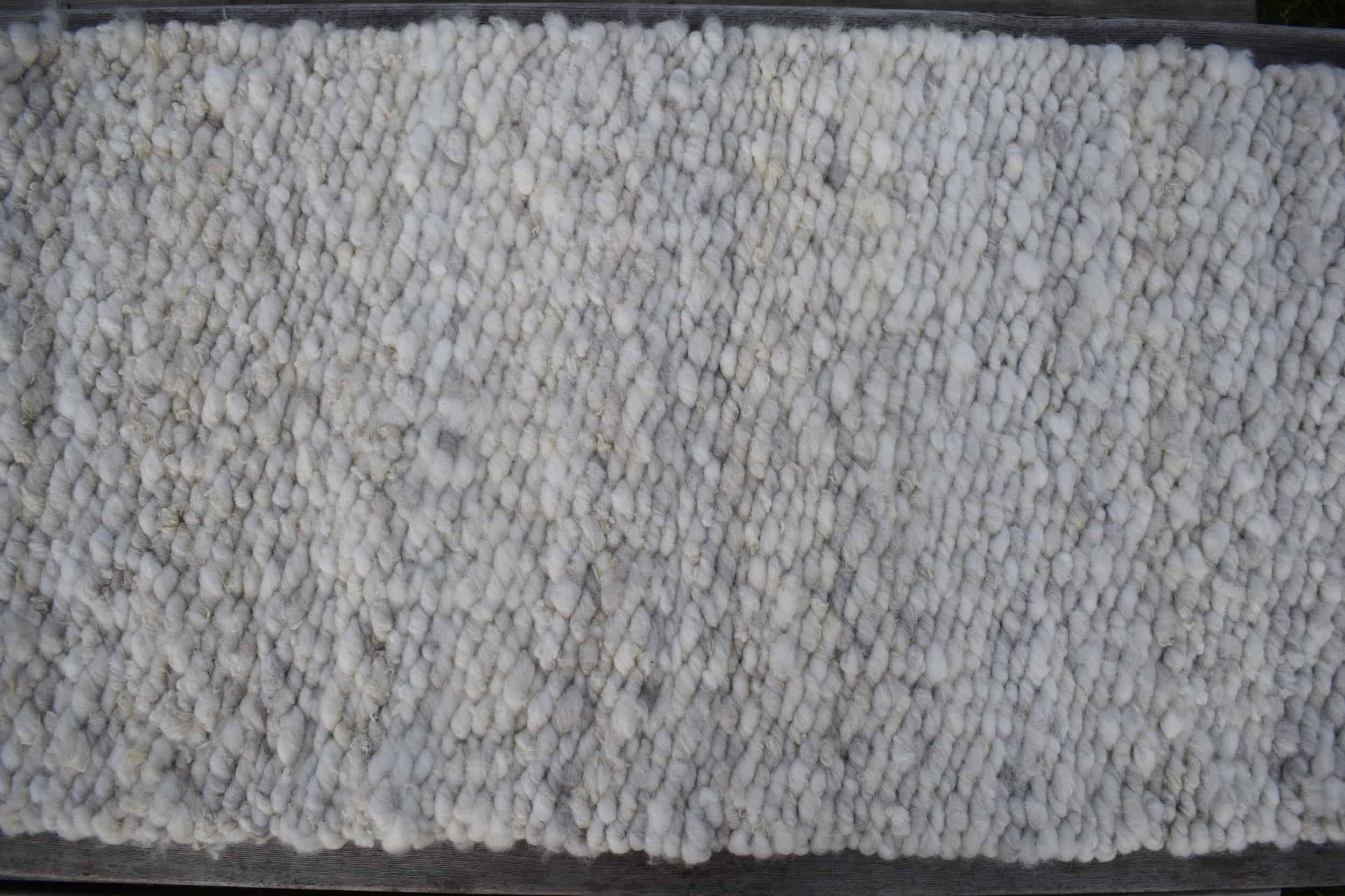 Patchwork sheep pegloom wool rug handmade light grey woven