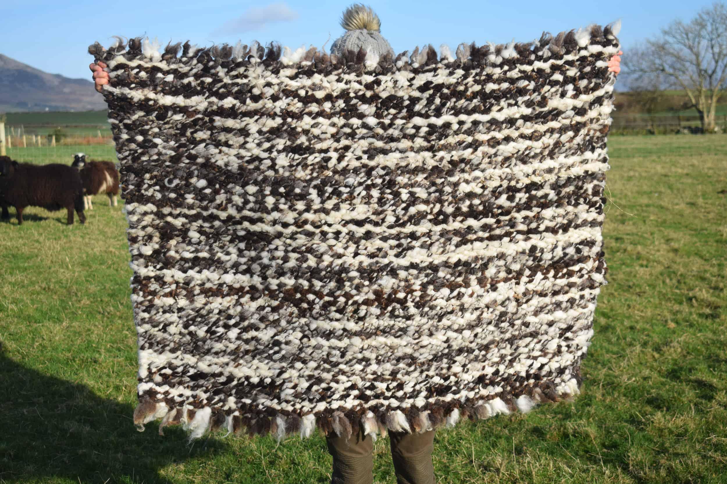 pegloom woven large wool rug throw handmade brown white sweep patchwork sheep tassled welsh wool