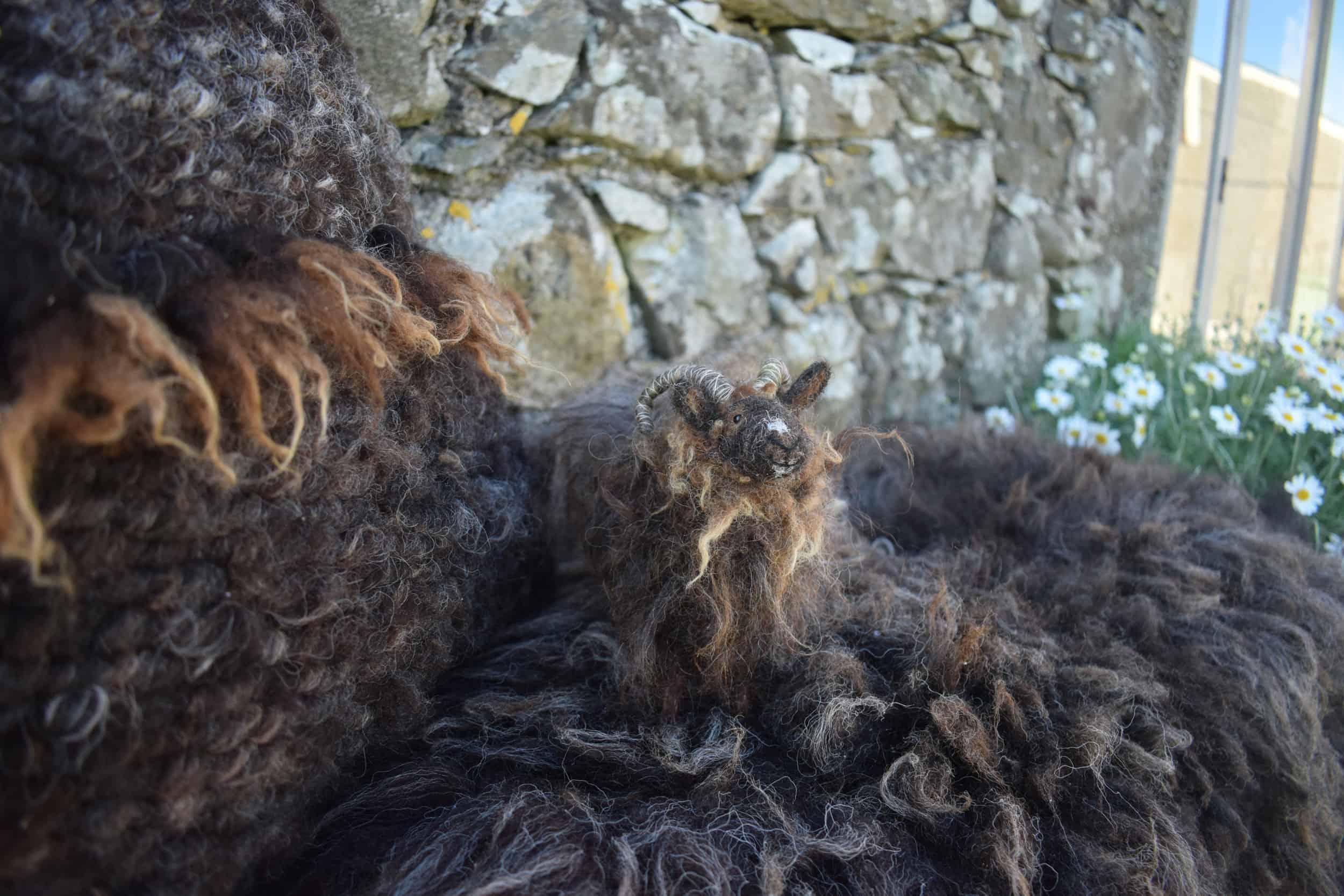 Magic pegloom cushion felted fleece brown black mini needle felted sheep handmade woolsheep jacob cross shetland magical patchwork sheep