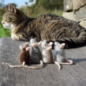 felted wool mice