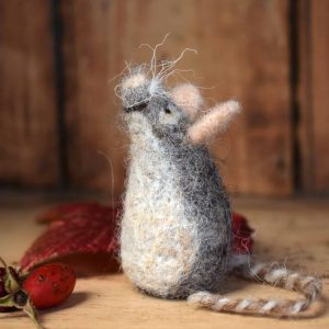 handmade needle felted wool mouse