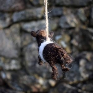 needle felted belted galloway cow