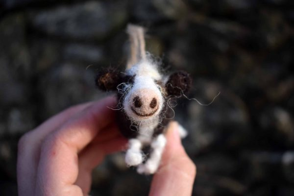needle felted wool friesian cow
