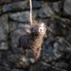 needle felted wool highland cow dun