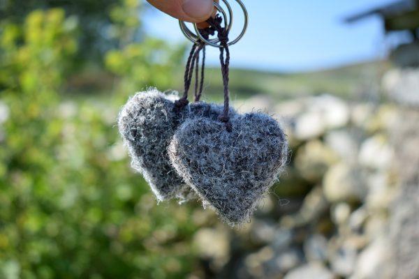 wool heart herdwick keyring