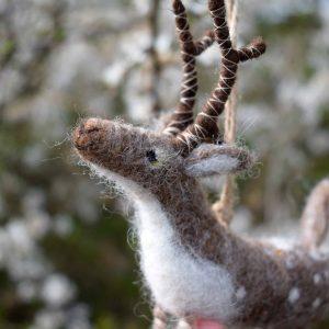 needle felted deer decoration