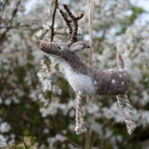 needle felted deer